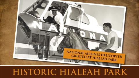 National Airlines Helicopter Greeted at Hialeah Park